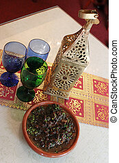 Middle Eastern food and glasses
