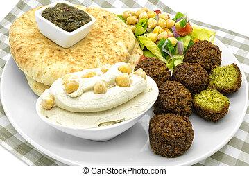 Middle Eastern food - falafel, hummus, pita