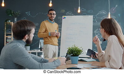 Middle Eastern guy speaking to coworkers and writing on whiteboard in office