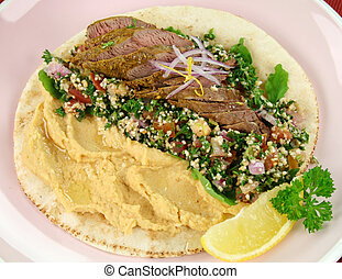 Middle Eastern Lamb Pita Bread - Middle Eastern lamb fillet...