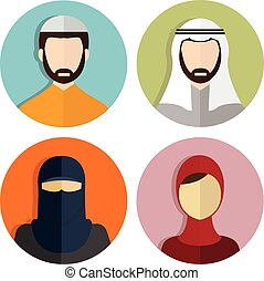 Middle Eastern, Muslim avatar People Icons
