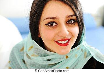 Happy sensual Arabic woman