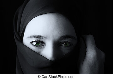 Middle Eastern woman portrait looking sad with hijab...