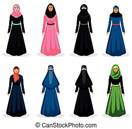 Middle eastern woman vector - Middle eastern woman set. ...
