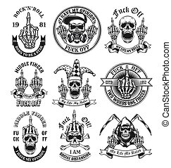Middle finger emblems set. Monochrome design elements with human skulls showing fuck off hand gesture and text. Nonconformist concept for tattoo, stamp, print templates