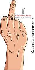 Middle finger hand sign, detailed vector illustration.