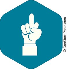 Middle finger hand sign icon, simple style