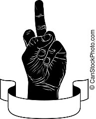 Middle finger hand sign with ribbon, punk emblem, detailed...