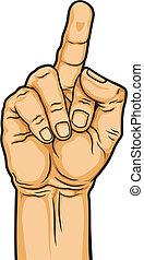 middle finger - illustration of hand with middle finger...
