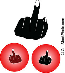 middle finger icon buttons frehand color drawing vector
