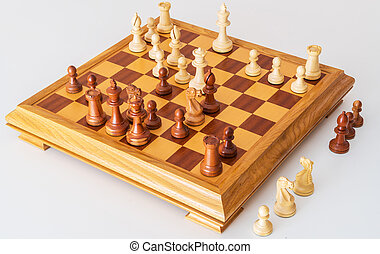 Middle game with lots of chess pieces on Board