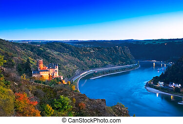 Middle Rhine Valley with Burg Katz and the Loreley, Germany. Unesco World Heritage Site.