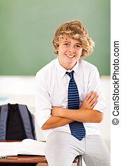 middle school teen student in classroom