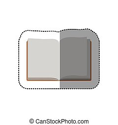 middle shadow color sticker with open book
