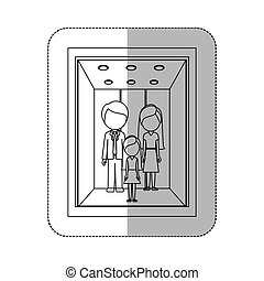 middle shadow monochorme sticker with people in elevator