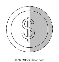 middle shadow monochrome circle with currency symbol of dollar