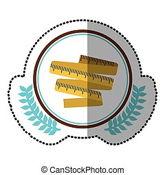middle shadow sticker colorful with olive crown with tape measure in circle