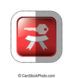middle shadow sticker in red square with key and ribbon