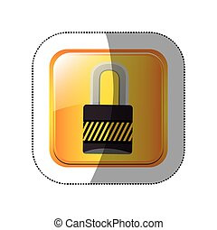 middle shadow sticker in yellow square padlock