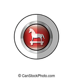 middle shadow sticker of trojan horse in circle