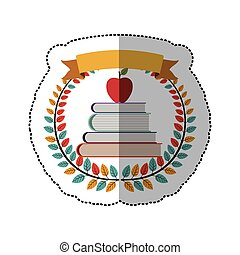 middle shadow sticker with colorful olive crown with ribbon and school books with apple