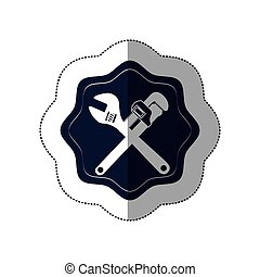 middle shadow sticker with frame and crossed wrenches vector illustration