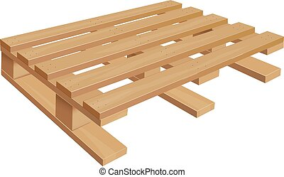 Middle wooden pallet in perspective