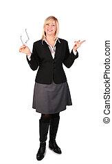 middleaged, affaires femme, main, poser, lunettes