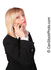 Middleaged businesswoman with cellphone