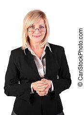 middleaged, femme, poser, business, lunettes