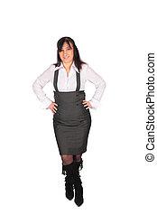 middleaged, vrouw, het poseren, overalls