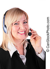 Middleaged woman with headset 2