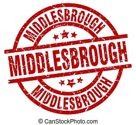 Middlesbrough red round grunge stamp
