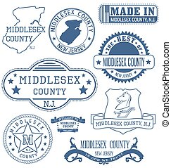 Middlesex county, New Jersey. Set of generic stamps and signs.