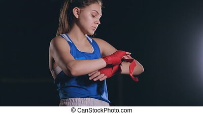 middling plan beautiful athletic boxer in blue clothes reels...