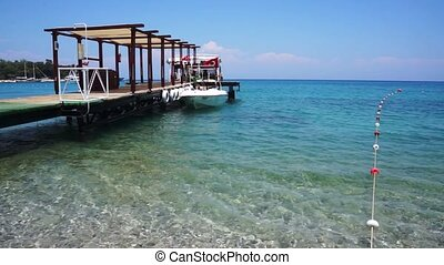 Mideterian Sea beach with pier in the Turkey