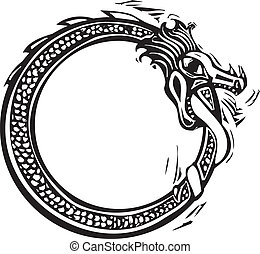 Midgard Serpent - Woodcut style image of the viking Norse...