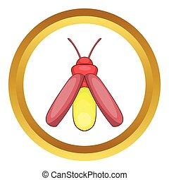 Midge vector icon in golden circle, cartoon style isolated...