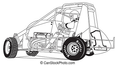 Midget Race Car - Vector, line drawing of midget race car ...