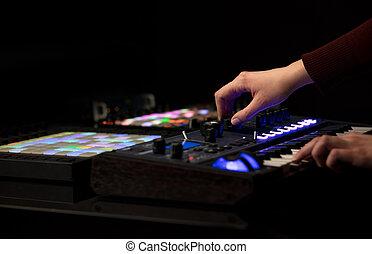 midi, 音乐, 控制器, 混合, 手