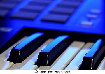 midi, controller, tastatur, in, blaues licht