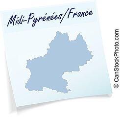 midi-pyrenees, karta