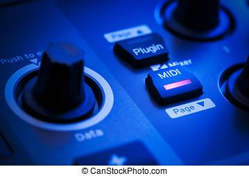 midi, taste, auf, a, controller, tastatur