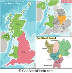 midlands, 地図, 東, イギリス\