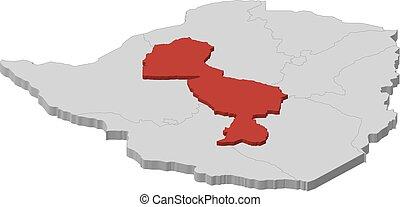 midlands, 地図, 3d-illustration, -, ジンバブエ