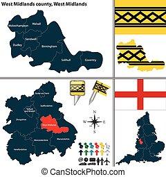 midlands, 西のmidlands, イギリス, 郡