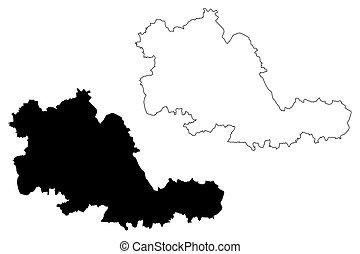 midlands, 西, (county), ベクトル, 地図