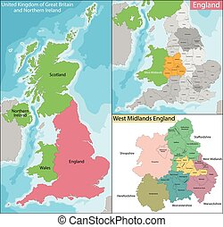 midlands, carte, angleterre, ouest