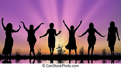 Midle-aged women silhouettes concept of diversity