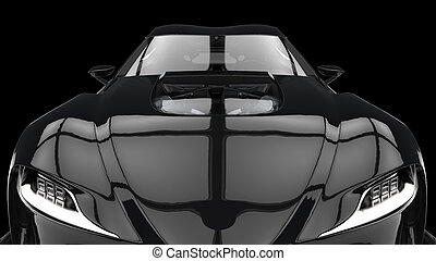 Midnight black super sports car - hood extreme closeup shot